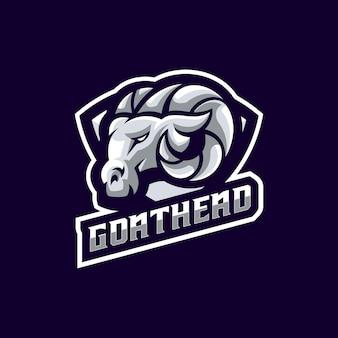 Plantilla de logotipo moderno de mascota de deporte de cabeza de cabra