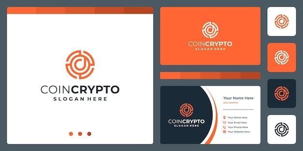 Plantilla de logotipo de moneda criptográfica con letra inicial d. vector icono de dinero digital, cadena de bloques, símbolo financiero.