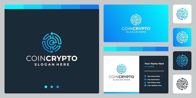 Plantilla de logotipo de moneda criptográfica con letra inicial e. vector icono de dinero digital, cadena de bloques, símbolo financiero.