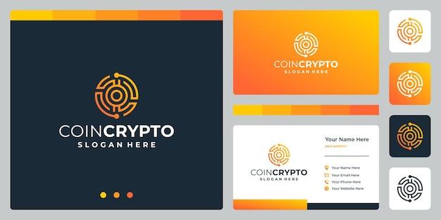 Plantilla de logotipo de moneda criptográfica con letra inicial o. vector icono de dinero digital, cadena de bloques, símbolo financiero.