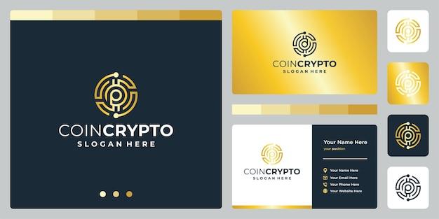 Plantilla de logotipo de moneda criptográfica con letra inicial p. vector icono de dinero digital, cadena de bloques, símbolo financiero.