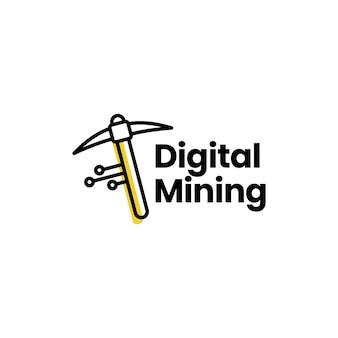 Plantilla de logotipo de moneda criptográfica de minería digital