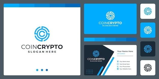 Plantilla de logotipo de moneda crypto con letra inicial c. icono de vector de dinero digital, cadena de bloques, símbolo financiero.