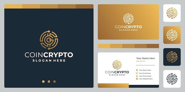 Plantilla de logotipo de moneda crypto con letra inicial g. vector de icono de dinero digital, cadena de bloques, símbolo financiero.