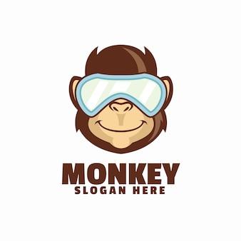 Plantilla de logotipo de mono fresco