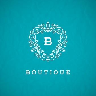 Plantilla de logotipo de monograma con elementos de ornamento elegante caligrafía florece.