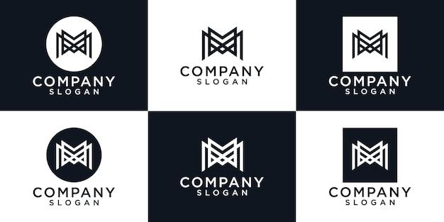 Plantilla de logotipo monograma letra m. iconos para negocios de moda, deporte, automoción