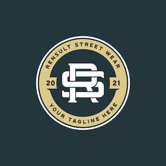 Plantilla de logotipo de monograma letra sr