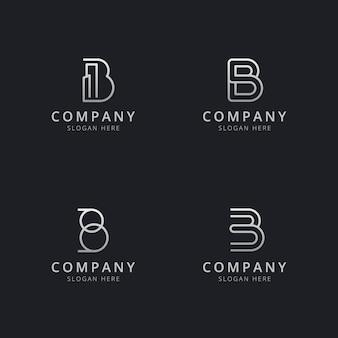 Plantilla de logotipo de monograma de línea b iniciales con un color plateado para la empresa