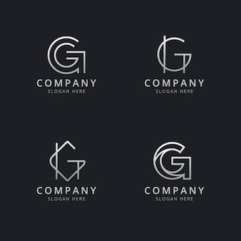 Plantilla de logotipo de monograma de línea g iniciales con color plateado para la empresa