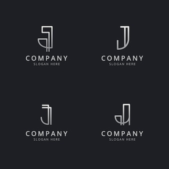 Plantilla de logotipo de monograma de línea j iniciales con color plateado para la empresa