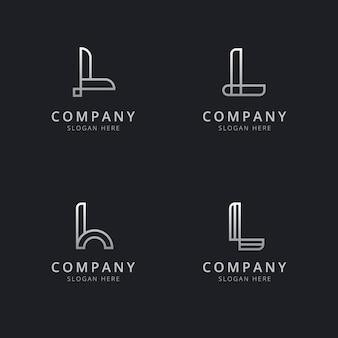 Plantilla de logotipo de monograma de línea l iniciales con color plateado para la empresa