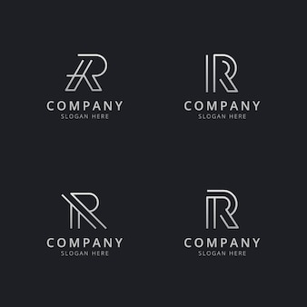 Plantilla de logotipo de monograma de línea r iniciales con color plateado para la empresa