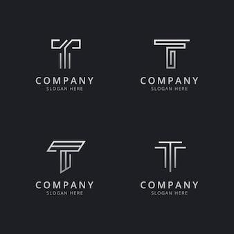 Plantilla de logotipo de monograma de línea t iniciales con un color plateado para la empresa