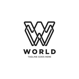 Plantilla de logotipo monograma monocromo letra w