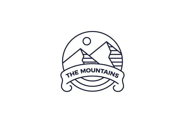 Plantilla de logotipo monoline de senderismo de montaña