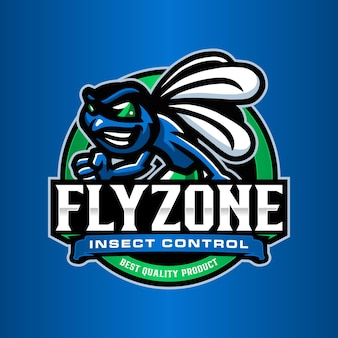 Plantilla de logotipo de mosca insecto