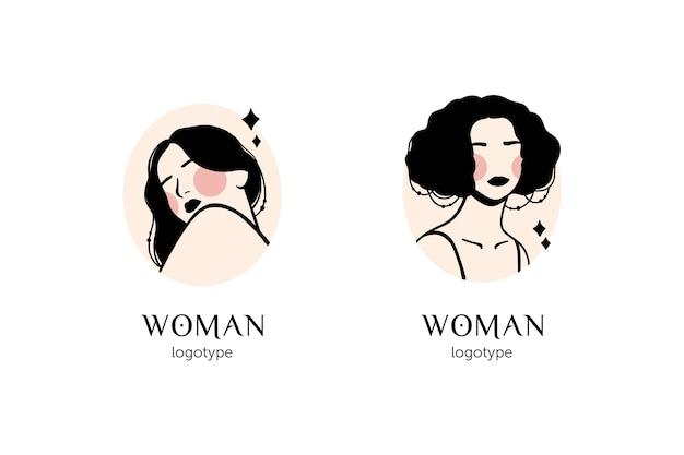 Plantilla de logotipo de mujer dibujada a mano