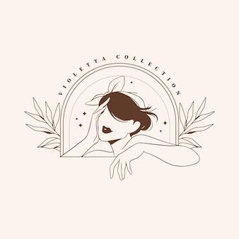 Plantilla de logotipo de mujer de moda dibujada a mano