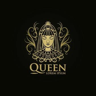 Plantilla de logotipo de mujer reina de oro