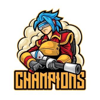 Plantilla de logotipo de mujer shooter esport