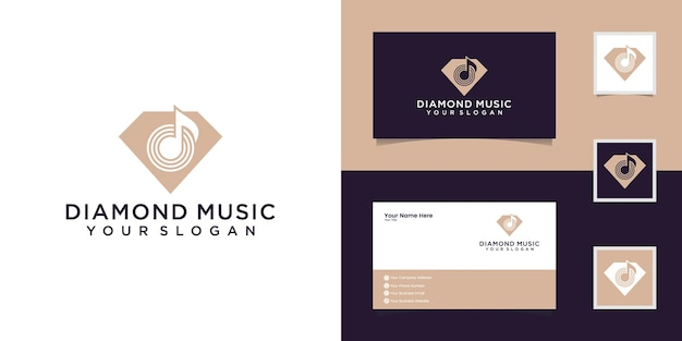 Plantilla de logotipo de music diamond y tarjeta de visita