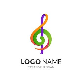 Plantilla de logotipo de música y tecla g, estilo moderno de logotipo 3d en colores vibrantes degradados