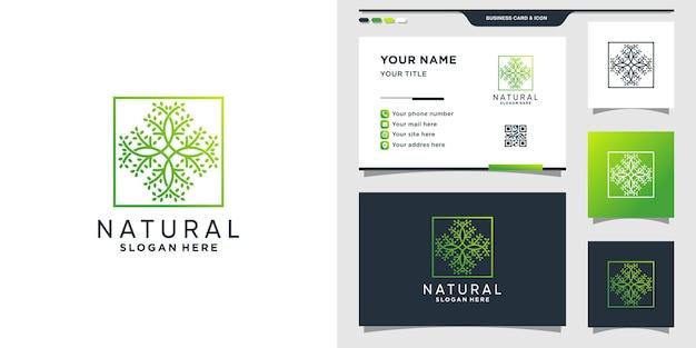 Plantilla de logotipo natural con estilo lineal y concepto cuadrado y diseño de tarjeta de visita