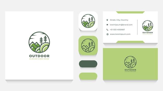 Plantilla de logotipo de naturaleza al aire libre y tarjeta de visita