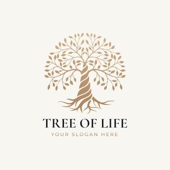 Plantilla de logotipo de naturaleza de árbol de la vida de estilo dorado