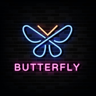 Plantilla de logotipo de neón de mariposa.
