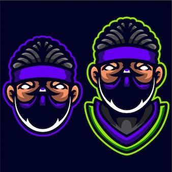 Plantilla de logotipo de ninja assassins head muscle body builder