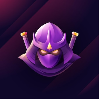 Plantilla de logotipo de ninja degradado
