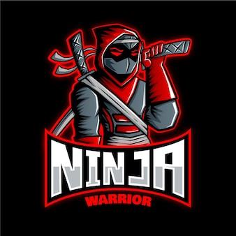 Plantilla de logotipo ninja con detalles