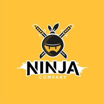 Plantilla de logotipo de ninja de diseño plano