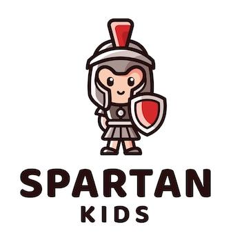 Plantilla de logotipo de niños espartanos
