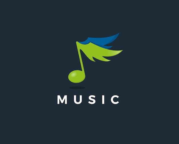 Plantilla de logotipo de nota musical mínima
