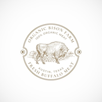 Plantilla de logotipo o insignia retro enmarcada de granja de bisontes orgánicos