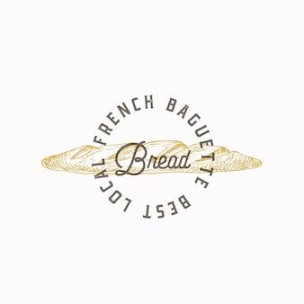 Plantilla de logotipo o símbolo de signo abstracto de pan baguette francés