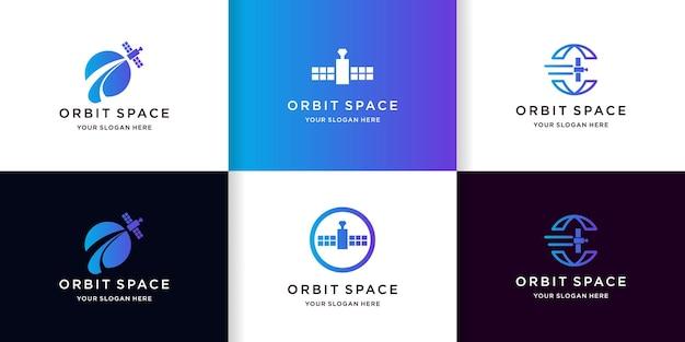 Plantilla de logotipo de obit de satélite