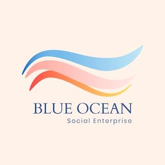 Plantilla de logotipo de océano estético, ilustración de agua creativa para vector de negocio