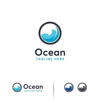 Plantilla de logotipo de océano