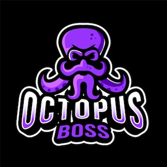 Plantilla de logotipo de octopus boss esport