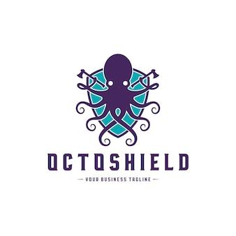 Plantilla de logotipo de octopus warrior