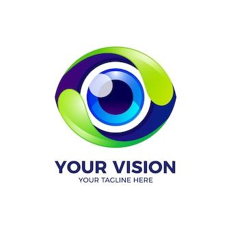 Plantilla de logotipo de ojos coloridos 3d