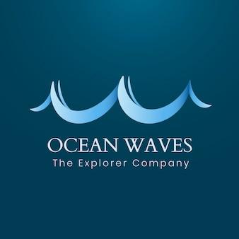 Plantilla de logotipo de ola oceánica, negocios de viajes, vector gráfico de agua animada