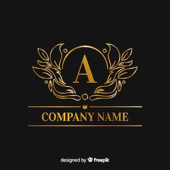 Plantilla de logotipo de oro elegante letra mayúscula