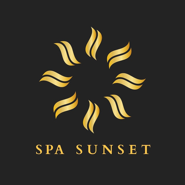Plantilla de logotipo de oro de spa de salud, vector de diseño creativo moderno