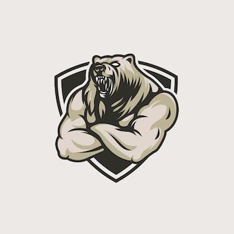 Plantilla de logotipo de oso enojado