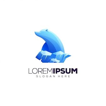 Plantilla de logotipo de oso polar